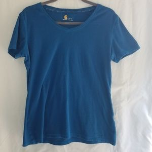 Carhartt Blue V-Neck Relaxed Fit T-Shirt Large